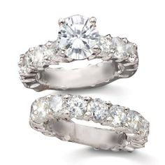 2 Carat Round CZ Solitaire Eternity Band Duet Wedding Ring Set SusanB.. $44.00