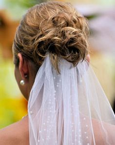 WeddingChannel Galleries: Veil with Pearl Details, with Messy Bun style