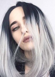 Granny Silver/ Grey Hair Color Ideas: Silver Hair With Grown-Out Roots