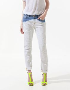 Diy Jeans, Jeans Refashion, Bleached Jeans, Distressed Skinny Jeans, Denim Pants, Trousers, My Style, Bleach Wash, Dip Dye