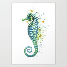 Seahorse: Jeweled Green Art Print by Samantha - $18.50