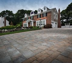 Elegant driveway created with Belgard pavers Driveway Design, Driveway Pavers, Belgard Pavers, Spanish Revival Home, Outdoor Paving, Paving Ideas, Outdoor Spaces, Outdoor Decor, Living Spaces