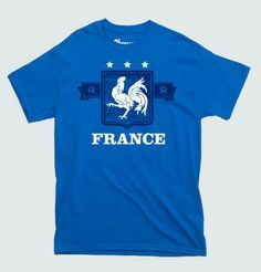It's soccer time again! FIFA World Cup 2014 is place soon. If you are rooting for France and Les Bleus, then this original fan t-shirt is bound to please you like Punch Show the world where your Soccer and Football Allegiances lie with this awesome France Soccer fan World Cup 2014 T-Shirt. THESE ARE ALSO OFFERED IN WOMENS- LADIES- GET YOUR FANWEAR HERE! Professionally screenprinted for long-lasting wear and quality.