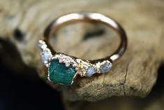 Emerald Sea - Emerald Raw Diamond Engagement Rings, Engagement Ring Sizes, Chevron Ring, Diamond Alternatives, Alternative Engagement Rings, Raw Gemstones, Conflict Free Diamonds, Semi Precious Gemstones, Chakra Healing
