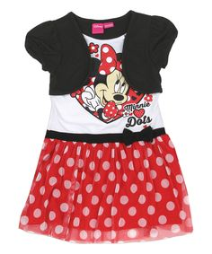 Look at this Red Polka Dot Minnie Mouse Dress & Black Bolero - Toddler & Girls on #zulily today!
