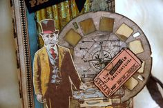 Closeup of picture wheel detail on front cover and Tim Holtz' gentleman that was stamped onto Specialty Stamping paper and colored using Distress Inks and a small water detailer brush.
