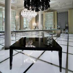 Darkside table & Chandelier by Philippe Starck for Baccarat http://www.starck.com/en/design/categories/furniture/tables.html#    www.divafurniture.com