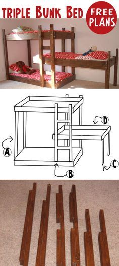 Triple Bunk Bed - I only really need a double/twin bunk, although if the triple could be made into a double and one single bed later, Id be interested! Little boy will eventually have his own room while the girls continue to share. Bunk Bed Plans, Murphy Bed Plans, Kids Bunk Beds, Boy Room, Kids Room, Triple Bunk Beds, 3 Tier Bunk Beds, Bunk Bed Designs, Girls Bedroom