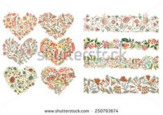 Set with different design elements: hearts , seamless borders with flowers - stock vector