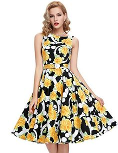 b90571038f3 Amazon.com  Belle Poque Vintage Sleeveless Cocktail Dress Belt Evening  Party BP02  Clothing