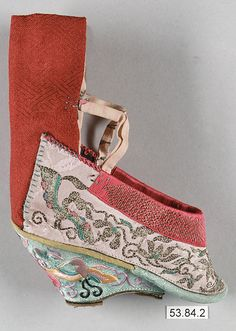 Woman's Shoe for Bound Feet  Period: Qing dynasty (1644–1911) Date: 19th–20th…