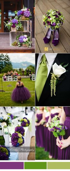 Purple and Green Wedding Color Palette