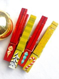PAINTED CHRISTMAS CLOTHESPINS  red mustard turquoise wooden glitter snow covered trees candy canes vintage ornament magnets by SugarAndPaint on Etsy