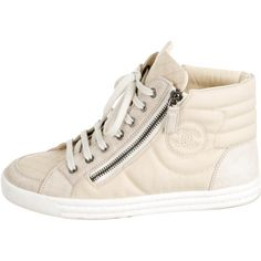 Pre-owned Chanel High-Top CC Sneakers featuring polyvore women's fashion shoes sneakers neutrals hi tops lacing sneakers lace up shoes lace up sneakers zipper sneakers