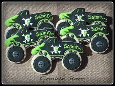 Monster Truck Grave Digger Custom Decorated Birthday Sugar Cookies