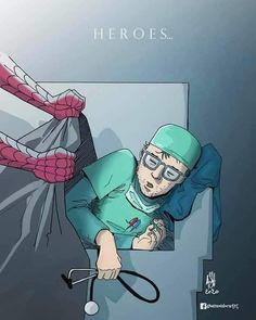 The real heroes Cool Art Drawings, Art Sketches, Doctor Drawing, Nurse Art, Medical Art, Real Hero, Human Art, Nurse Life, Nurse Humor