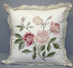 "NEEDLEPOINT ROSES ""PINK"" CROCHET or MAGNOLIA TRIM CUSHION COVERS. #BOXINGDAY #SALE $29.95 CLICK LINK IN BIO TO SHOP NOW (SALE VALID TO JANUARY 7, 2016) https://thelaceandlinensco.com/store/products/needlepoint-roses-pink-favourite-crochet-trim-cushion-cover# #antique #handembroidered #vintagedoily #vintagefinds"