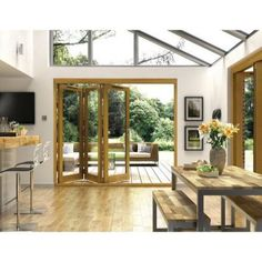 *** Oak folding doors roof too open SR likes wood but not oak Folding not the problem, is ultra-modern look that's the problem