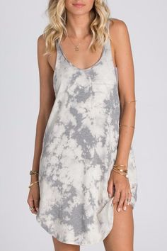 Take athletic lines to your lounge sesh with this salt-washed dress. A low racer back is perfect for letting strappy back bralettes and bikinis shine. Salt washed tank dress. Low racer back. Scoop neck. Chest pocket. Shoulder to hem (HPS) length: 33 inches for size medium. Sweet Sesh Dress by Billabong. Clothing - Dresses - Casual Miami, Florida