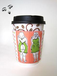 Coffee Koozie, Naked Chef, polka dot