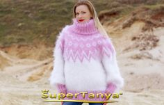BOUTIQUE hand knitted sweater mohair super fuzzy by supertanya
