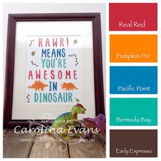 No Bones About It & Layered Letters Alphabet Stamp sets - Dinosaur Framed Art using all Stampin' Up! products 2015 2016 Carolina Evans #stampinup #dinosaurs
