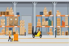 Warehouse Interior with Boxes On Rack And People Working. Flat vector and solid color style Logistic Delivery Service Concept illustration.: comprar este vector de stock y explorar vectores similares en Adobe Stock Flat Design, Logo Design, Warehouse Management, Warehouse Design, Color Style, Warehouse Shelving, Supply Chain Management, Packers And Movers, List Template