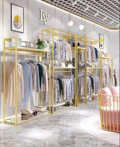 Golden clothes shelf clothing store in the island frame double-sided women's clothing store bag display rack floor double row.