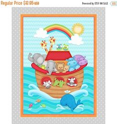 "YEAR END SALE Side by Side Noah's Ark Panel 24"" x 44""~ Cotton Fabric by~Henry Glass~Fast Shipping Ch393"