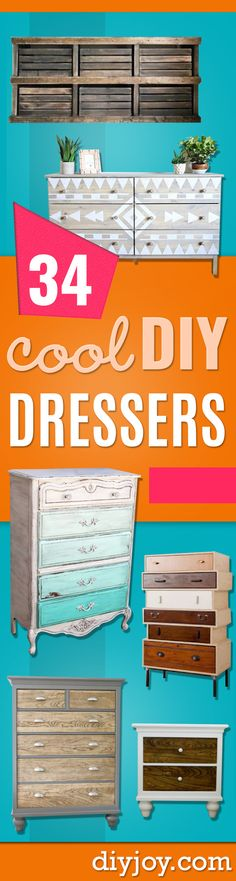 DIY Dressers - Simple DIY Dresser Ideas - Easy Dresser Upgrades and Makeovers to Create Cool Bedroom Decor On A Budget- Do It Yourself Tutorials and Instructions for Decorating Cheap Furniture - Crafts for Women, Men and Teens http://diyjoy.com/diy-dresser-ideas