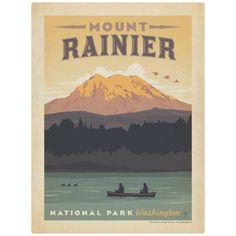 Mount Rainier National Park Canoe Wall Decal