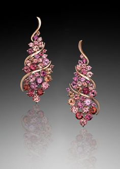 Bridal Jewelry Cuvee Earrings on gradient - Cuvée Earrings reflect joy and abundance. This design features rubellite tourmaline set in Adam's signature AlbaGold™, a warm, rosy alloy. Bridal Accessories, Bridal Jewelry, Gemstone Jewelry, Diamond Jewelry, Modern Jewelry, Fine Jewelry, Beach Jewelry, Jewelry Rings, Ideas Joyería