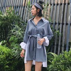 South Korea chic loose collar color bow tie with a single collar buckle collar shirt dress female summer irregular skirt