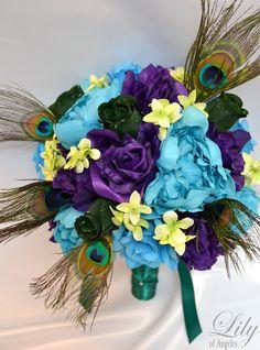 "17pcs Wedding Bridal Bouquet Set Decoration Silk Flower TURQUOISE PURPLE PEACOCK ""Lily of Angeles"""
