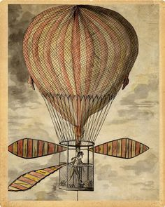"Hot Air Balloon ""Strange Invention"" Steampunk Victorian Antique Print  - Striped Circus Carnival - Red Brown Black Sepia - Whimsical Art"
