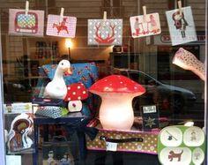 Caravane Faubourg shop, Paris shop window, store display, mushroom lamp