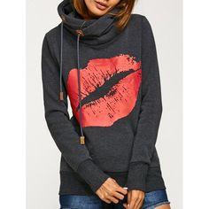 Lip Print Kangaroo Pocket Hoodie, DEEP GRAY, XL in Sweatshirts & Hoodies | DressLily.com