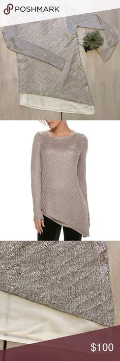 "Apt. 9 Asymmetrical Sequin Sparkle Sweater Beige This is a dazzling sweater by Apt. 9. You can forget regular sweaters. With the sequins and asymmetrical trim you'll be sure to stand out from all that winter gloom.    Size:XS Length: 23.5"" - 29"" Bust: 33.5"" Waist: 33"" Hip: 33"" Sleeve: 33""  Apt 9, Sparkly, Dazzling, Glitter, Knit, Cream Pullover  Thanks for checking it out! Apt. 9 Sweaters Crew & Scoop Necks"