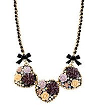Betsey Johnson® Flower Heart Frontal Necklace