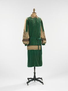 Green velveteen day dress by Jean Patou, French, c. 1920's.