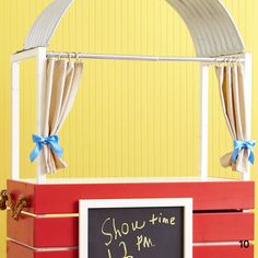 DIY Puppet Show Theater and/or Lemonade Stand. Cute!