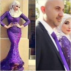 Find More Evening Dresses Information about Purple Arabic Muslim Evening Dresses Crew Lace Appliques Beads Crystals Long Sleeve Party Dress  Floor Length Mermaid Gowns,High Quality beaded strapless wedding dress,China beaded summer dresses Suppliers, Cheap beaded legging from ShangNi  High End Wedding Dresses on Aliexpress.com