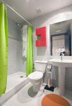 badezimmer gestaltung gr ne vorh nge akzent an der wand