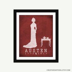 Jane Austen littérature Art Print - livre auteur Art - plusieurs tailles