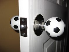 Soccer balls - what! Although I'd want a normal looking one on the hallway side. Soccer balls - w Soccer Room Decor, Soccer Theme, Soccer Boys, Boys Soccer Bedroom, Soccer Stuff, Nike Soccer, Soccer Cleats, College Basketball, Messi Soccer