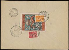 1923, pre-printed cover locally sent in Petrograd, bearing on reverse advertising label of ''Petrotextile'' and imperforated stamps of 1k an...