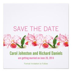 Pink Vintage Orchids Save the Date Cards by Elke Clarke©. Purchase at www.zazzle.com/blissfulwedding* or see www.monogramgallery.ca for more wedding ideas