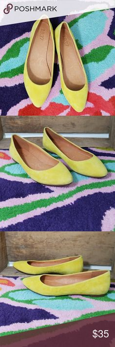 1937 Footwear yellow suede point toe flats 6.5 1937 Footwear yellow suede point toe flats 6.5  Photos are the description of this article. Any flaws will be pointed out and noted. Otherwise this article is in excellent condition. Madewell Shoes Flats & Loafers