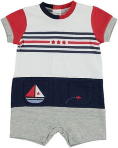 Boating romper for babies  RED - 2256