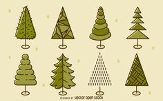 Set of 8 Christmas tree illustrations. Line art designs featuring geometric…